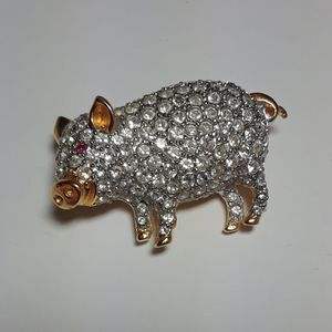 Vintage Carolee Crystal Piggy Brooch Pin